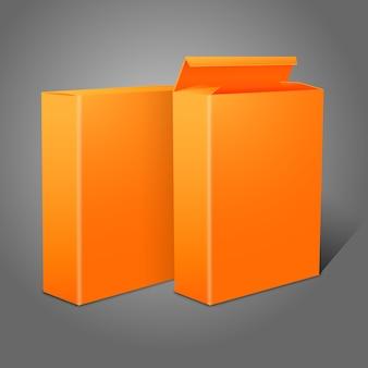 Deux paquets de papier vierge orange vif réalistes pour cornflakes