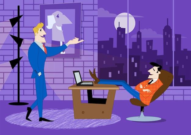 Deux partenaires commerciaux discutent de l'avancement des travaux. contrat commercial, financement d'idée.
