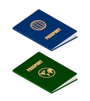 Deux passeports de style isométrique
