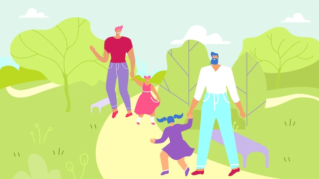 Deux pères marchant avec des filles dans un parc urbain