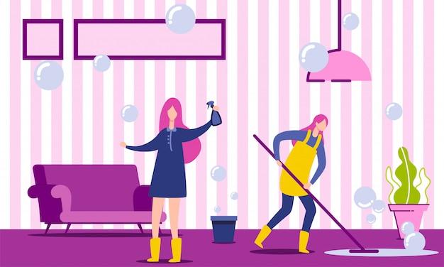 Deux personnages faisant des tâches ménagères.