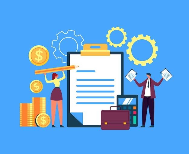 Deux personnages de gens d'affaires souscrivent au contrat. concept de transaction internet en ligne.