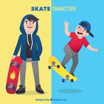 Deux personnages de skate