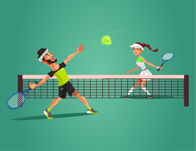 Deux personnages souriants heureux homme et femme jouent au tennis