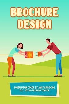Deux personnes connectant la fiche et la prise. homme et femme tirant des cordons avec prise et prise illustration vectorielle plane