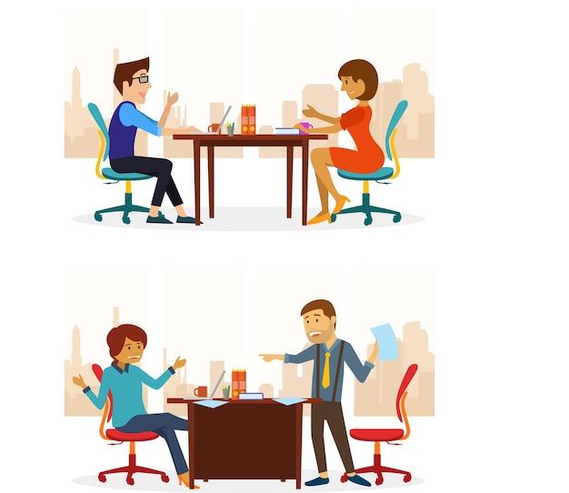 Deux personnes faisant la conversation au bureau