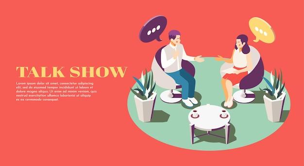 Deux personnes à l'illustration isométrique de la composition du talk-show