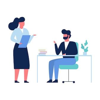 Deux personnes parlant au bureau. femme debout