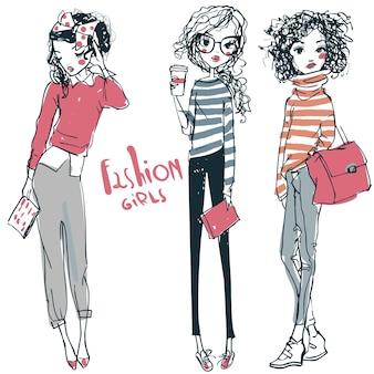 Deux petites filles de mode esquissées de dessin animé mignon