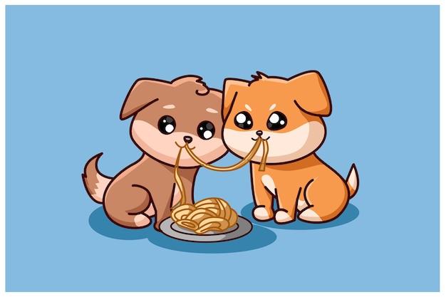 Deux petits chiens mangeant des boulettes ensemble