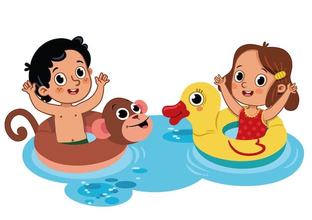 Deux petits enfants s'amusant dans l'eau activité de plein air isolé sur blanc illustration vectorielle