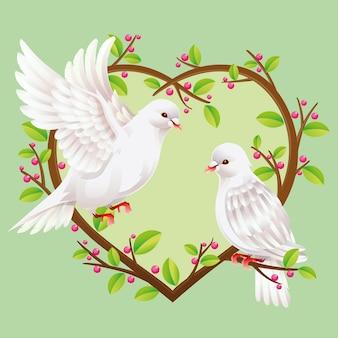 Deux pigeons colombe sur des branches en forme de coeur.
