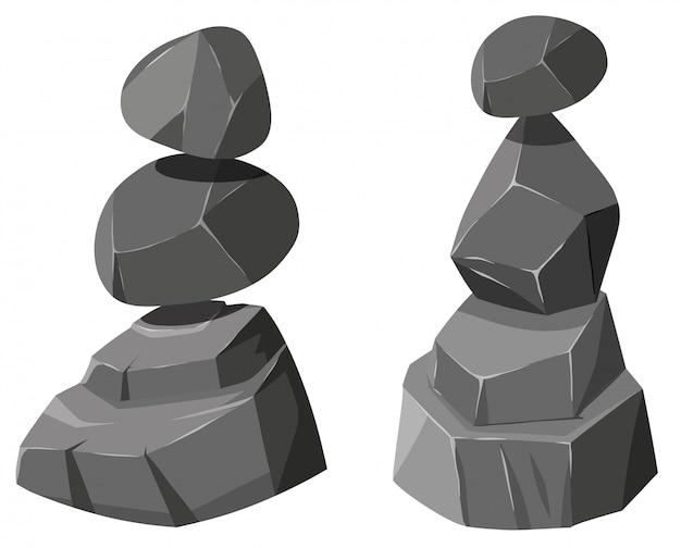 Deux piles de roches