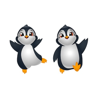 Deux pingouins de dessin animé mignon heureux