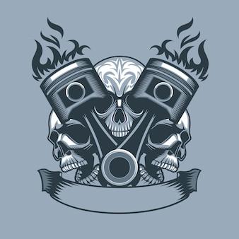 Deux pistons en feu sur fond de trois crânes. style de tatouage monochrome.