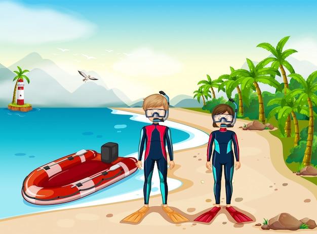 Deux plongeurs et bateau dans la mer