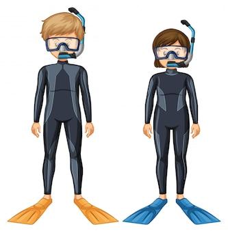 Deux plongeurs avec masque et aileron