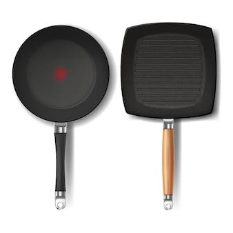 Deux poêles à frire noires réalistes, forme ronde et carrée, avec indicateur thermo-spot rouge