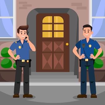 Deux policiers à la porte plate illustration vectorielle