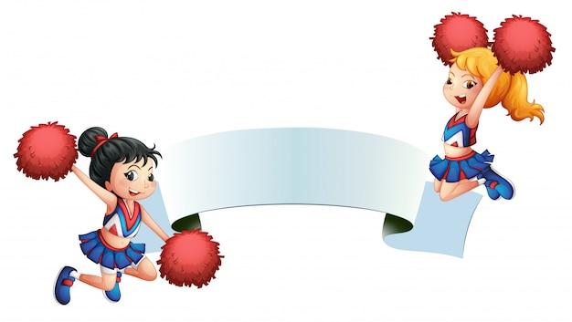 Deux pom-pom girls avec une signalisation