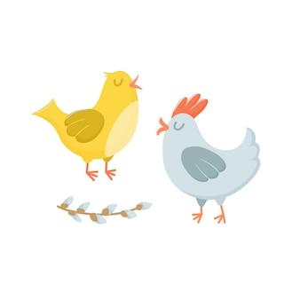 Deux poules - poule et coq - personnages de pâques