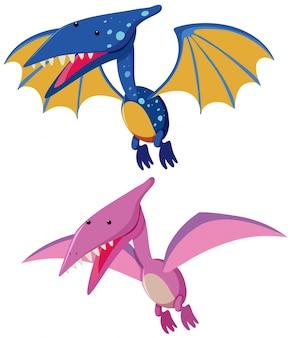 Deux ptérosaures en bleu et rose