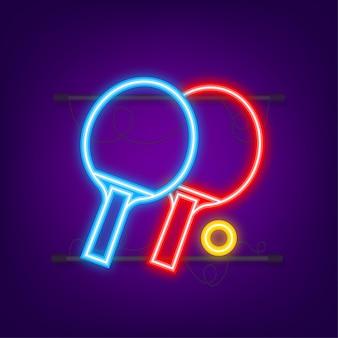 Deux raquettes pour jouer au tennis de table. icône néon. illustration vectorielle.