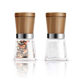 Deux réalistes isolés composition de moulin à poivre et à sel avec récipient en verre et illustration vectorielle de couverture en bois