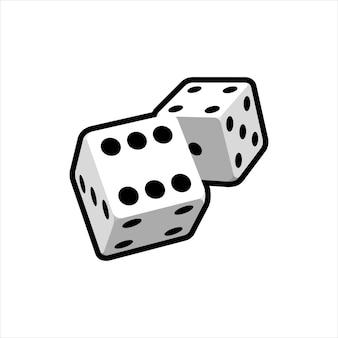 Deux dés réalistes tombant sur un fond blanc. conception de casino pour applications web, infographie, publicité, mise en page. illustration vectorielle.