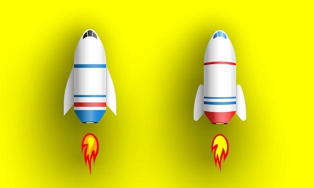 Deux roquettes sur jaune. vaisseaux spatiaux.