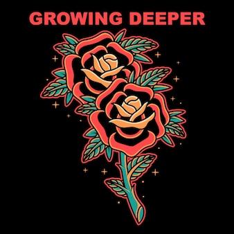 Deux roses old school vector illustration sur fond isolé
