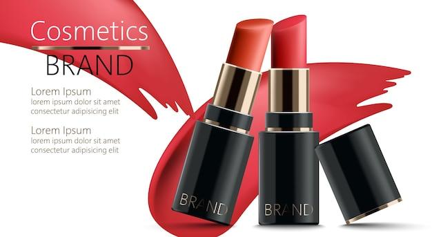 Deux rouges à lèvres appuyés l'un sur l'autre. réaliste. . place pour le texte