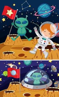 Deux scènes spatiales avec des extraterrestres et des astronautes
