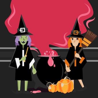 Deux sorcières debout autour de chaudron avec de la vapeur