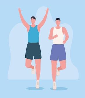 Deux sportifs en marathon