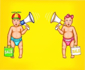 Deux surpris bébé garçon et fille avec haut-parleurs
