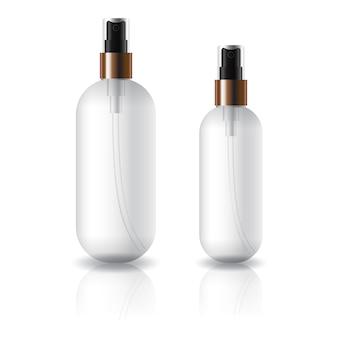 Deux tailles de bouteille cosmétique ronde et ovale transparente avec tête de pulvérisation.