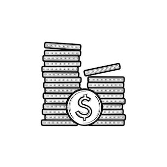 Deux tas de pièces de monnaie icône de doodle contour dessiné à la main. financer l'investissement, l'épargne en espèces, le marché et le concept d'échange