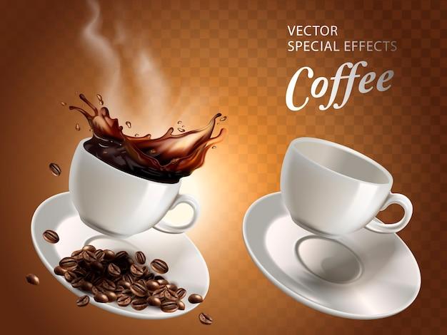 Deux tasses à café, une vide et une pleine, fond transparent