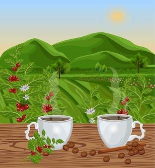 Deux tasses de café avec vue sur le paysage vector. champs verts de récoltes de grains de café