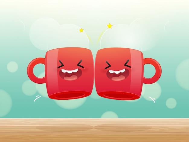 Deux tasses rouges de boisson en cliquant