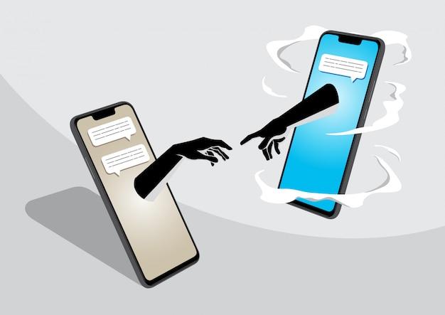 Deux téléphone portable entrer en contact