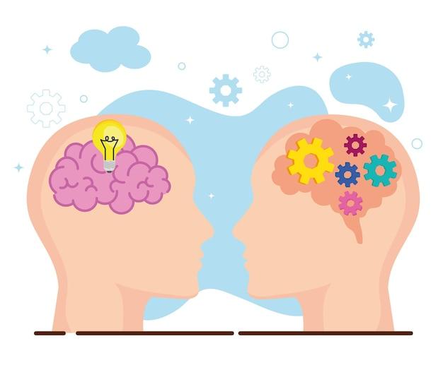Deux têtes avec des cerveaux
