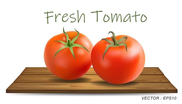Deux tomates isolés sur des plaques de bois photo-réalistes