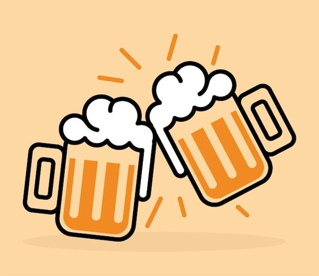 Deux verres de bière à griller