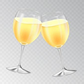 Deux verres de champagne cliquetis. concept de vacances réaliste sur fond transparent. bulles pétillantes. illustration.