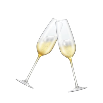 Deux verres de champagne croisés champagne pétillant dans des verres brillants.