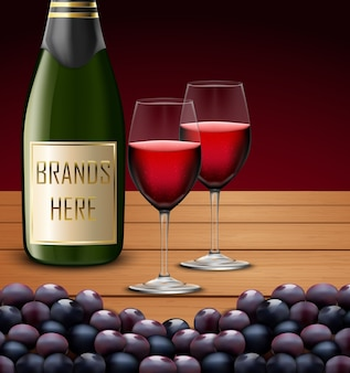 Deux verres à vin et bouteilles de champagne