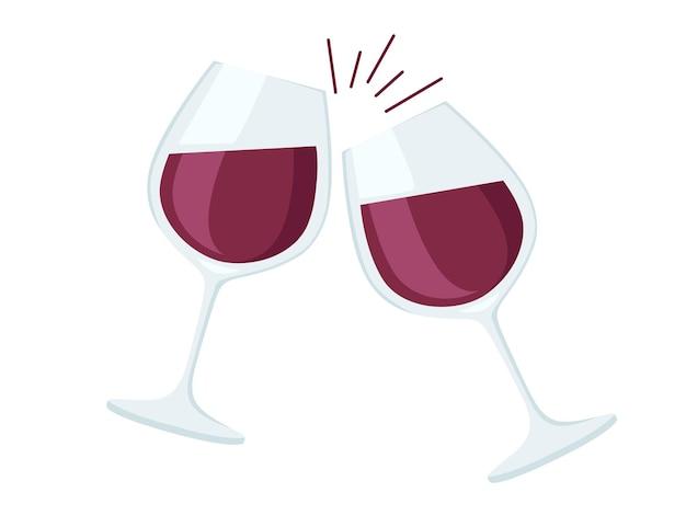 Deux verres à vin avec du vin rouge acclamations illustration plate
