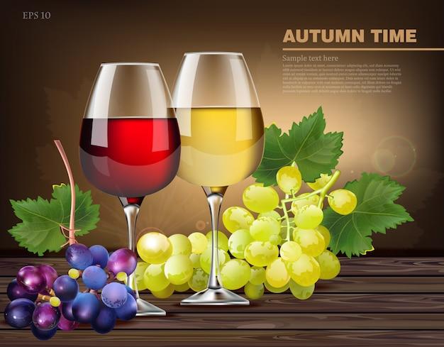 Deux verres de vin et raisins de vigne